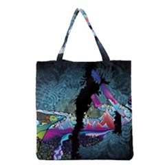 Girl Dress Fly  Grocery Tote Bag by amphoto