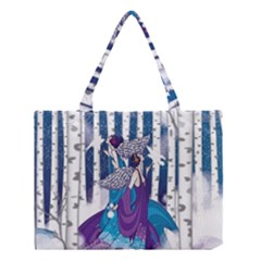 Girl Forest Trees Medium Tote Bag by amphoto