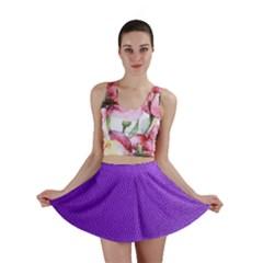 Purple Skin Leather Texture Pattern Mini Skirt by paulaoliveiradesign