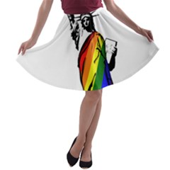 Pride Statue Of Liberty  A Line Skater Skirt by Valentinaart