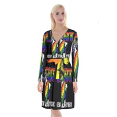 Lgbt New York Long Sleeve Velvet Front Wrap Dress by Valentinaart