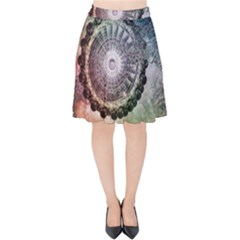 Circle Figures Background  Velvet High Waist Skirt by amphoto