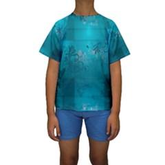 Volume Pattern Abstract Kids  Short Sleeve Swimwear by amphoto