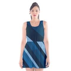 2435 Line Gray Blue 3840x2400 Scoop Neck Skater Dress by amphoto