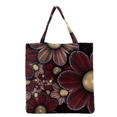 Flower Background Line Grocery Tote Bag by amphoto