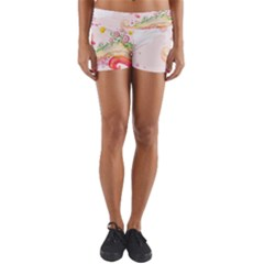 Curl Butterfly Flowers Yoga Shorts by amphoto