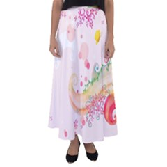Curl Butterfly Flowers Flared Maxi Skirt by amphoto