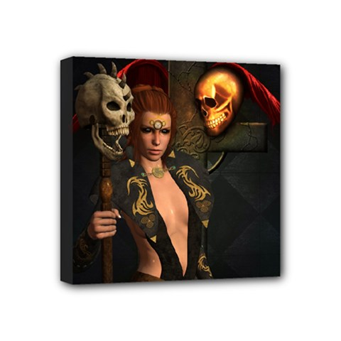 The Dark Side, Women With Skulls In The Night Mini Canvas 4  X 4  by FantasyWorld7