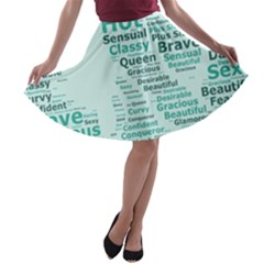 Belicious World Curvy Girl Wordle A Line Skater Skirt by beliciousworld