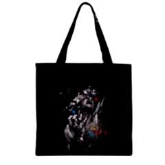 Man Rage Screaming  Zipper Grocery Tote Bag by amphoto