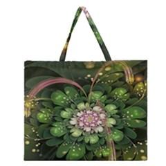 Fractal Flower Petals Green  Zipper Large Tote Bag by amphoto