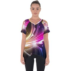 545 Patterns Lines Flying  Cut Out Side Drop Tee