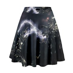 453 Electric Current Metal  High Waist Skirt by amphoto