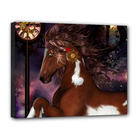 Steampunk Wonderful Wild Horse With Clocks And Gears Canvas 14  X 11  by FantasyWorld7