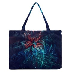 Fractal Flower Shiny  Zipper Medium Tote Bag by amphoto
