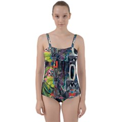 Psychedelic Abstraction Pattern  Twist Front Tankini Set