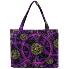 Fractal Neon Rings  Mini Tote Bag by amphoto