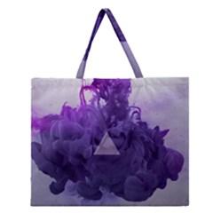 Smoke Triangle Lilac  Zipper Large Tote Bag by amphoto