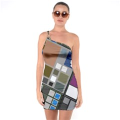 Abstract Composition One Soulder Bodycon Dress