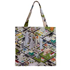 Simple Map Of The City Zipper Grocery Tote Bag by Nexatart
