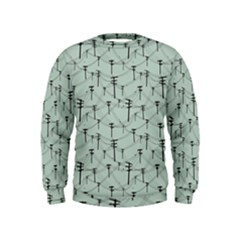 Telephone Lines Repeating Pattern Kids  Sweatshirt