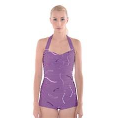 Plumelet Pen Ethnic Elegant Hippie Boyleg Halter Swimsuit  by Nexatart