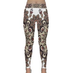 Mandala Pattern Round Brown Floral Classic Yoga Leggings