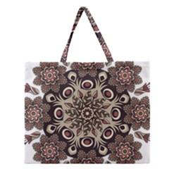 Mandala Pattern Round Brown Floral Zipper Large Tote Bag by Nexatart