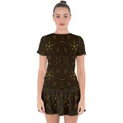 Majestic Pattern F Drop Hem Mini Chiffon Dress