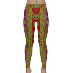Rainbow Flowers In Heavy Metal And Paradise Namaste Style Classic Yoga Leggings by pepitasart