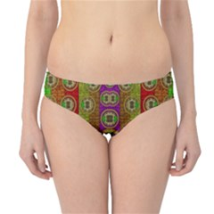 Rainbow Flowers In Heavy Metal And Paradise Namaste Style Hipster Bikini Bottoms by pepitasart