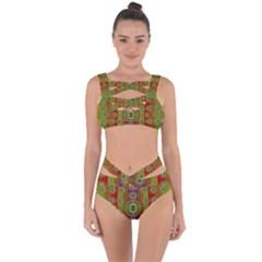 Rainbow Flowers In Heavy Metal And Paradise Namaste Style Bandaged Up Bikini Set  by pepitasart