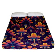 Floral Abstract Purple Pattern Fitted Sheet (california King Size) by paulaoliveiradesign