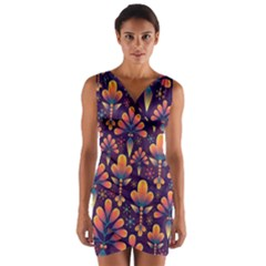 Floral Abstract Purple Pattern Wrap Front Bodycon Dress by paulaoliveiradesign