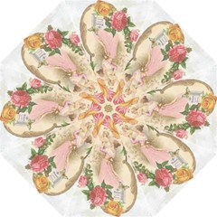 Vintage Floral Illustration Folding Umbrellas by paulaoliveiradesign