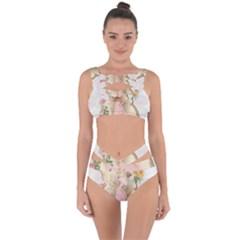 Vintage Floral Illustration Bandaged Up Bikini Set