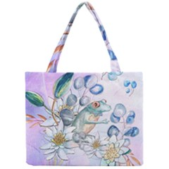 Funny, Cute Frog With Waterlily And Leaves Mini Tote Bag by FantasyWorld7