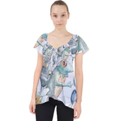 Funny, Cute Frog With Waterlily And Leaves Dolly Top