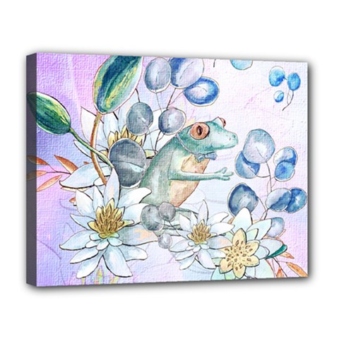Funny, Cute Frog With Waterlily And Leaves Canvas 14  X 11  by FantasyWorld7