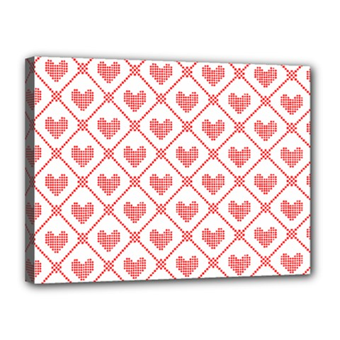 Heart Pattern Canvas 16  X 12  by stockimagefolio1