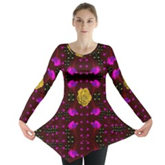 Roses In The Air For Happy Feelings Long Sleeve Tunic  by pepitasart