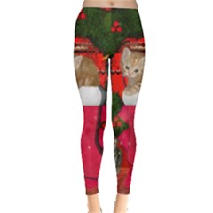 Christmas, Funny Kitten With Gifts Leggings  by FantasyWorld7