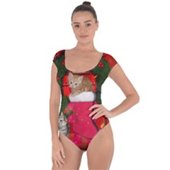 Christmas, Funny Kitten With Gifts Short Sleeve Leotard  by FantasyWorld7
