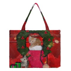 Christmas, Funny Kitten With Gifts Medium Tote Bag by FantasyWorld7