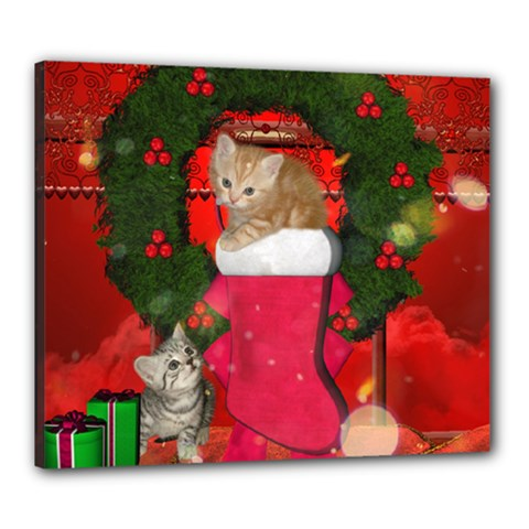 Christmas, Funny Kitten With Gifts Canvas 24  X 20  by FantasyWorld7
