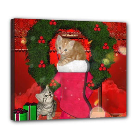 Christmas, Funny Kitten With Gifts Deluxe Canvas 24  X 20   by FantasyWorld7