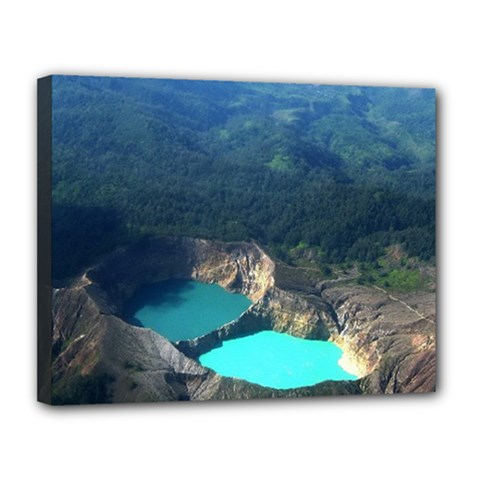Kelimutu Crater Lakes  Indonesia Canvas 14  X 11  by Nexatart