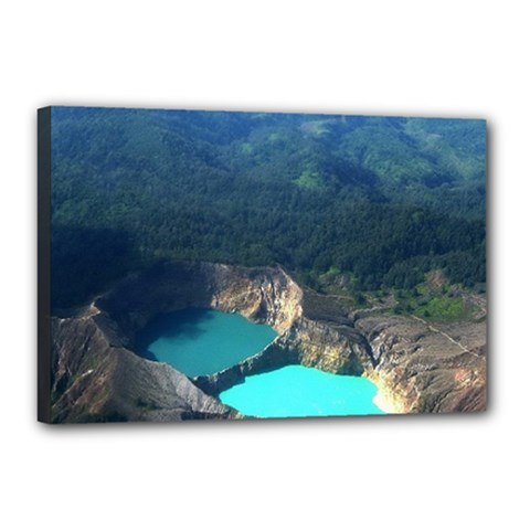 Kelimutu Crater Lakes  Indonesia Canvas 18  X 12  by Nexatart