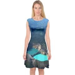 Kelimutu Crater Lakes  Indonesia Capsleeve Midi Dress