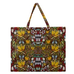 Fantasy Forest And Fantasy Plumeria In Peace Zipper Large Tote Bag by pepitasart